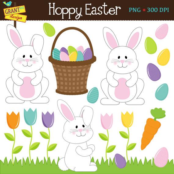 Easter Clipart Bunny Clip Art Cute Easter Digital Clipart.