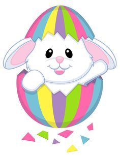 Easter Bunnies Clipart. 6 Easter bunny. Grey rabbit with egg.