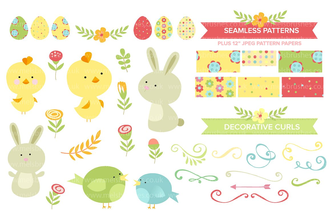 Cute Easter Clipart & Patterns ~ Illustrations on Creative Market.