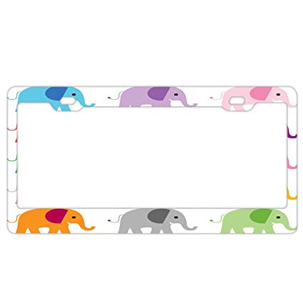 Amazon.com: YEX Abstract Cute Elephant Clipart License Plate Frame.