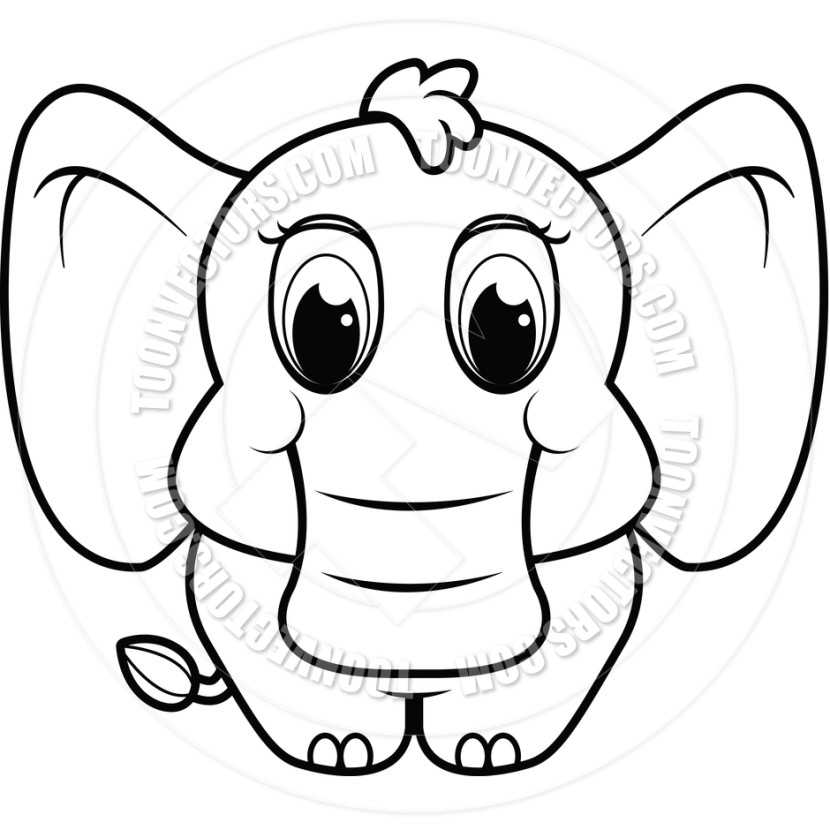 Baby Elephant Drawing Black And White.