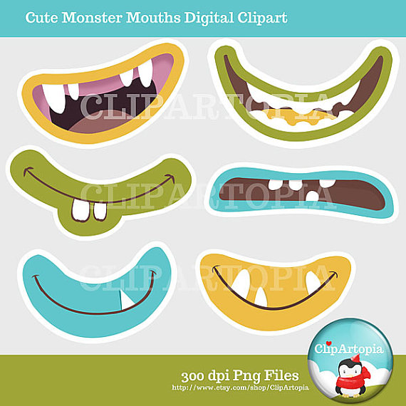 Cute Monster Mouths Digital Clipart Printable / INSTANT Download.