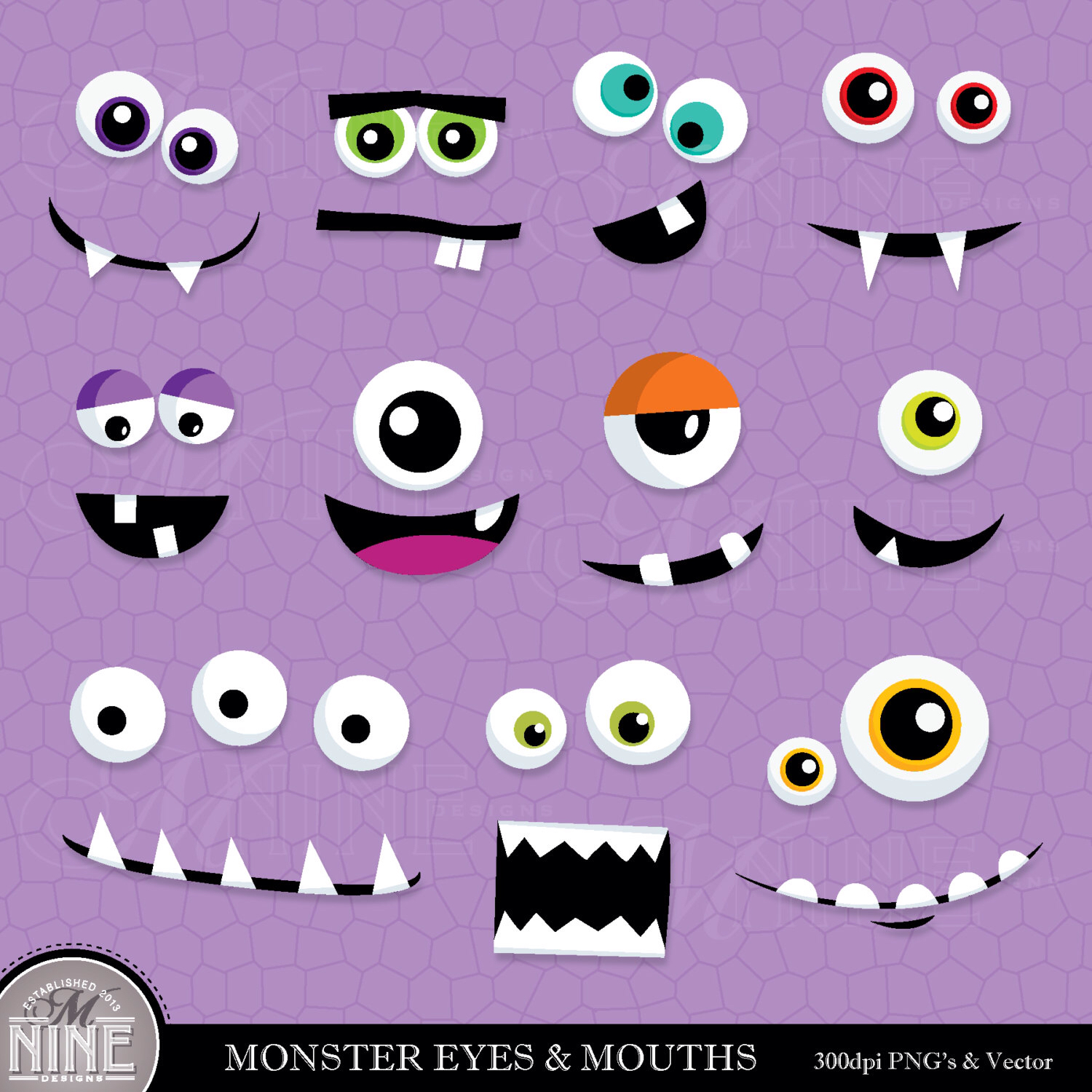 MONSTER EYES & MOUTHS Clip Art Digital Clipart, Instant Download.