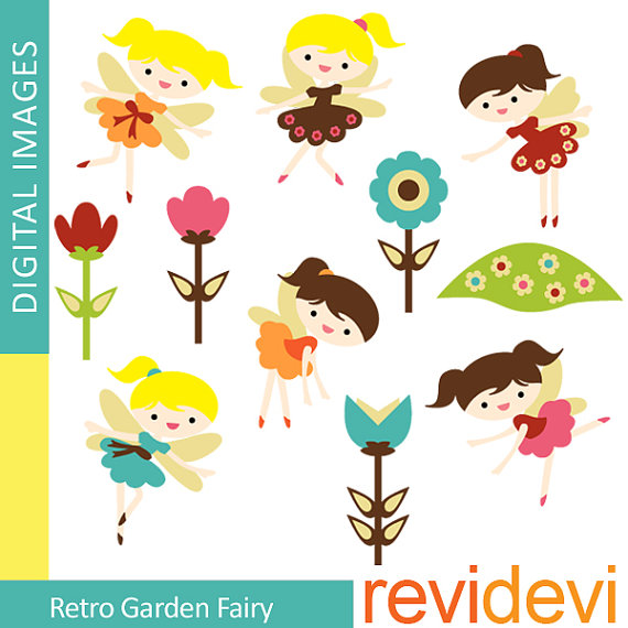 Clipart cute fairy, girl, garden.. Retro Garden Fairy Clipart.