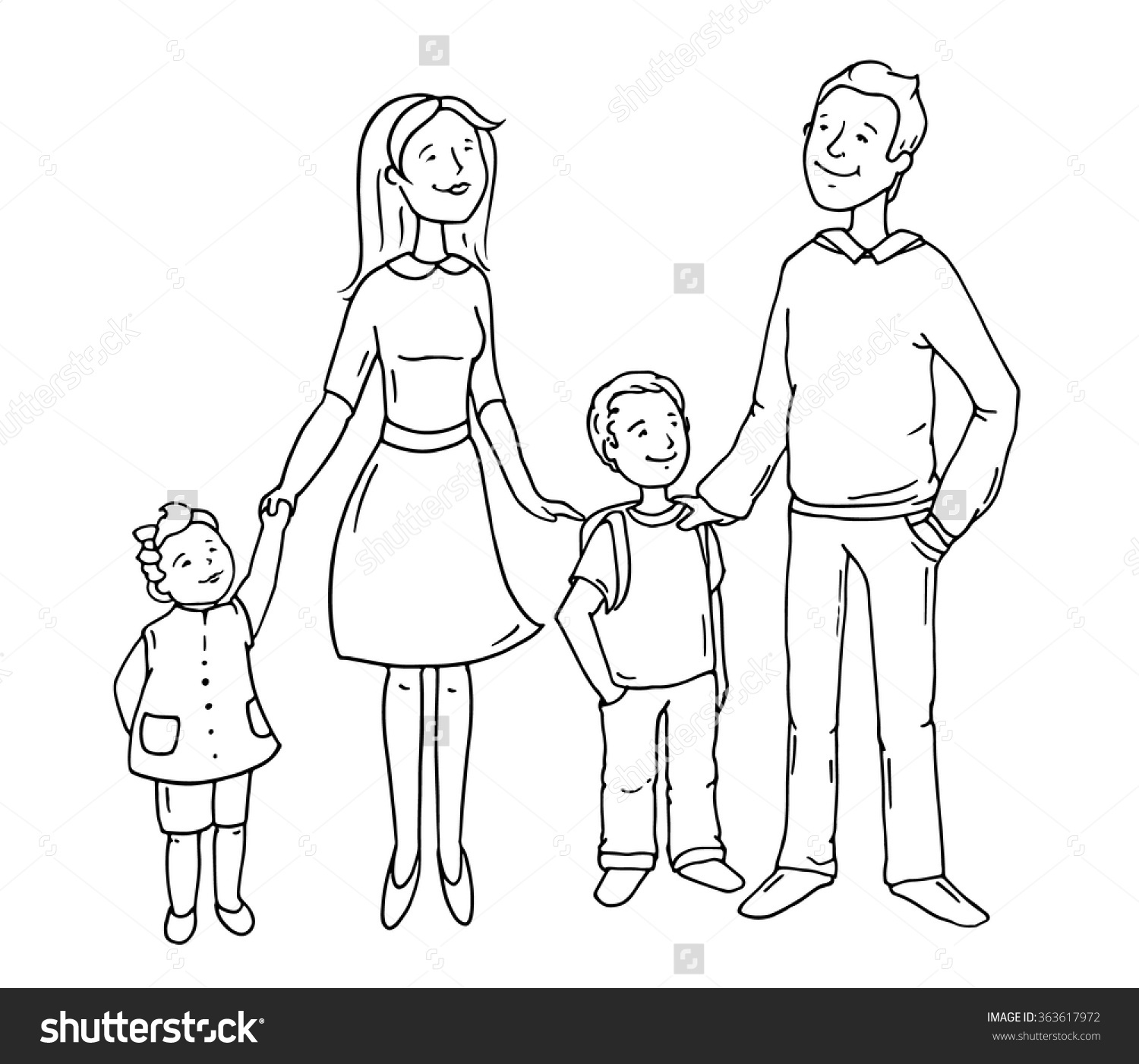 Father Standing Clipart Black And White.