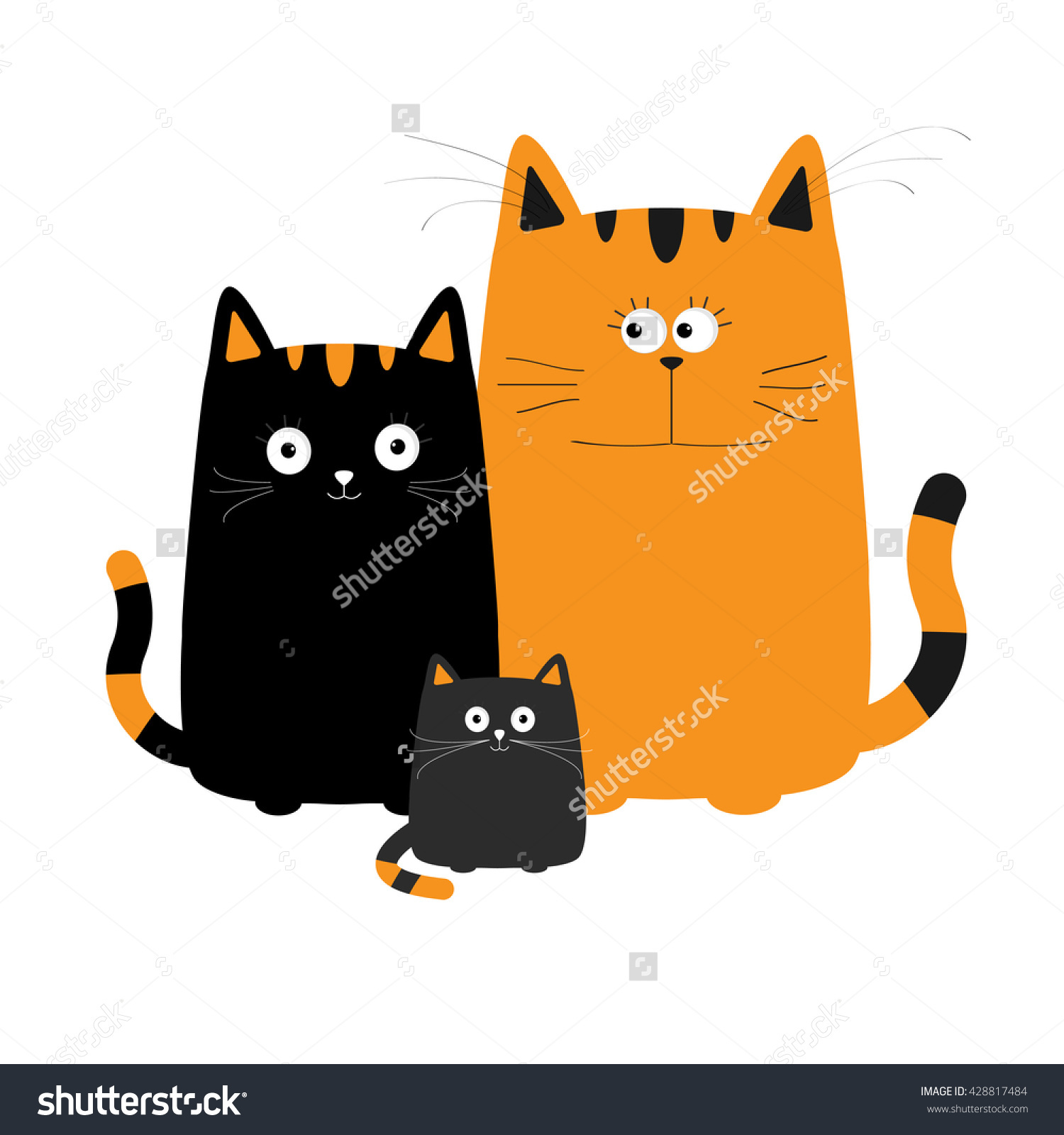 Cute Cartoon Cat Family Mother Father Stock Vector 428817484.