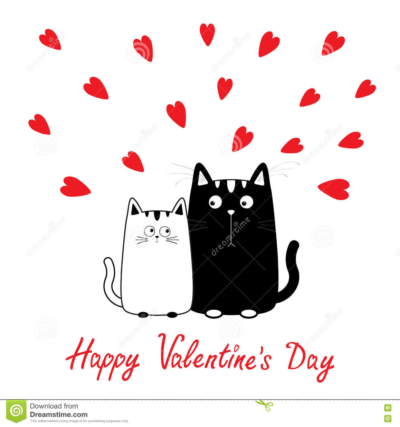 Happy Valentines Day. Cute Cartoon Black White Cat Boy And Girl.