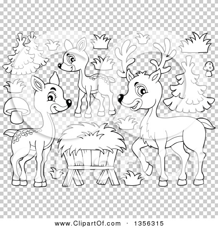 Clipart of a Cartoon Black and White Cute Deer Family, Trees and.
