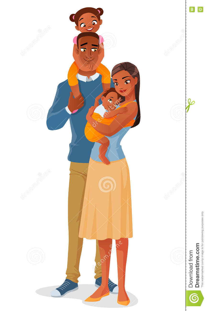 Cartoon Smiling Black Ethnic Family With Two Kids. Vector.