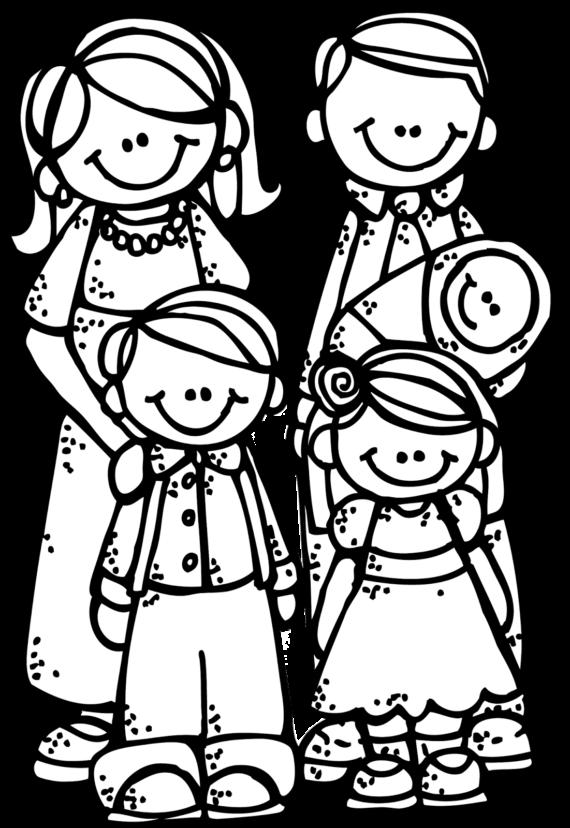cute family cartoon clipart black