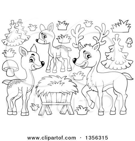 Clipart of a Cartoon Cute Baby Deer.