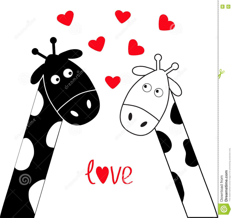 Cute Cartoon Black White Giraffe Boy And Girl Camelopard Couple