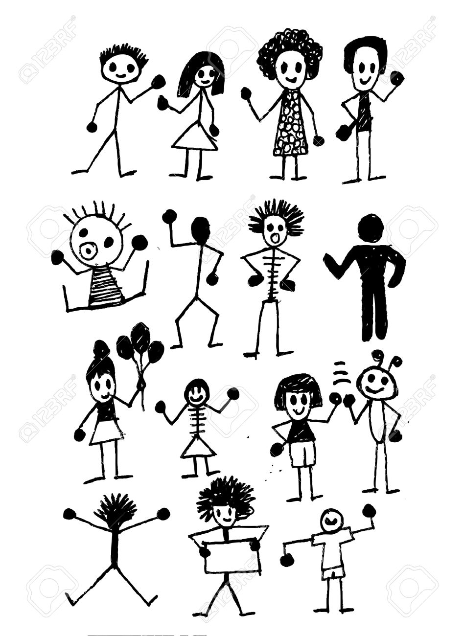 Cute Cartoon Boys And Girls Clip Art Illustration And Drawing.