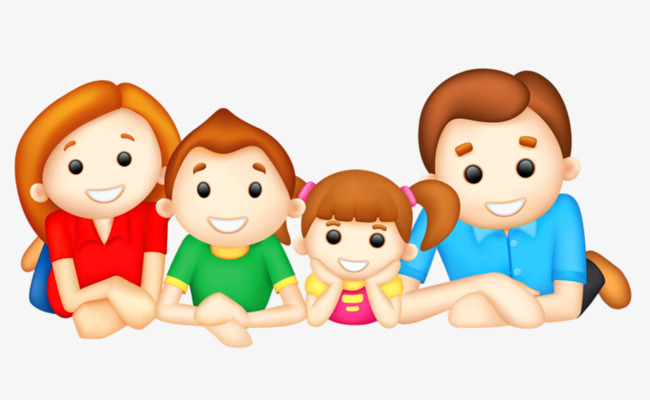 Cute Little Girl Family Portrait Material Free To Pull Clipart.