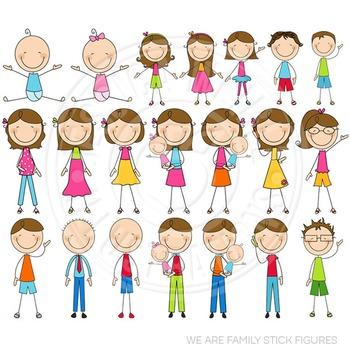 Brunette We Are Family Stick Figures Cute Clipart, Stick Figures Clip Art.