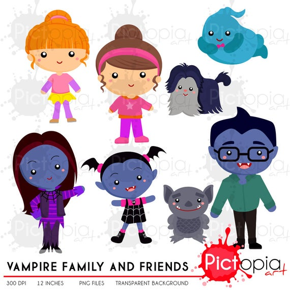 Vampire cute family solid color Clipart, vampire clip art, ghost png, pet  clipart INSTANT DOWNLOAD.