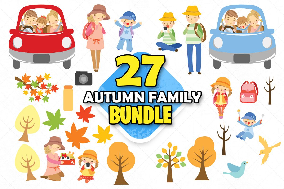 Autumn family clipart family svg files cute clipart graphics.