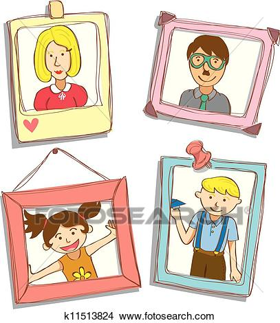 Cute frame with family photo Clipart.