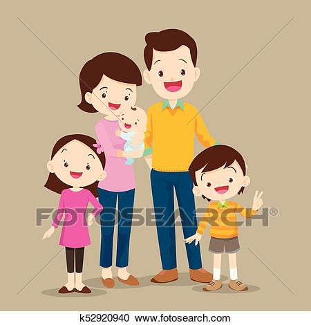 Cute Family with Baby Clipart.