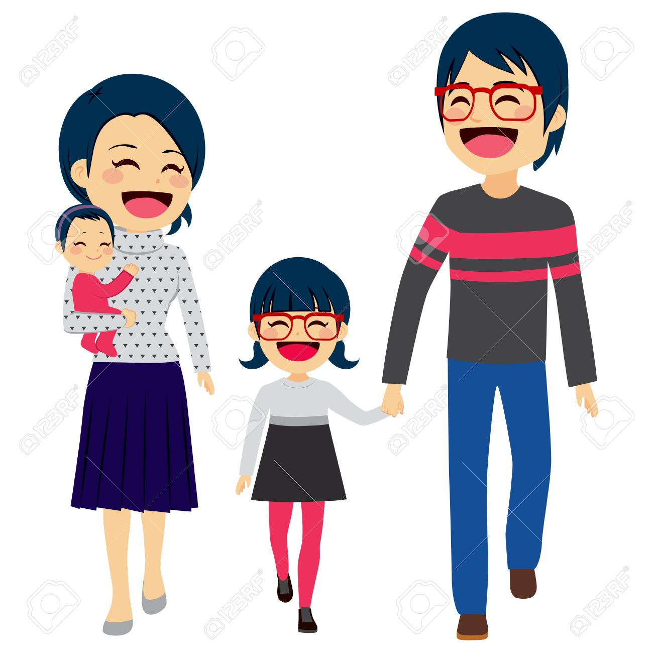Cute happy four member Asian family walking together smiling.