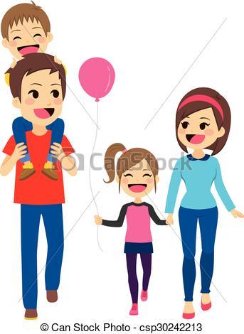 Happy Family Walking.