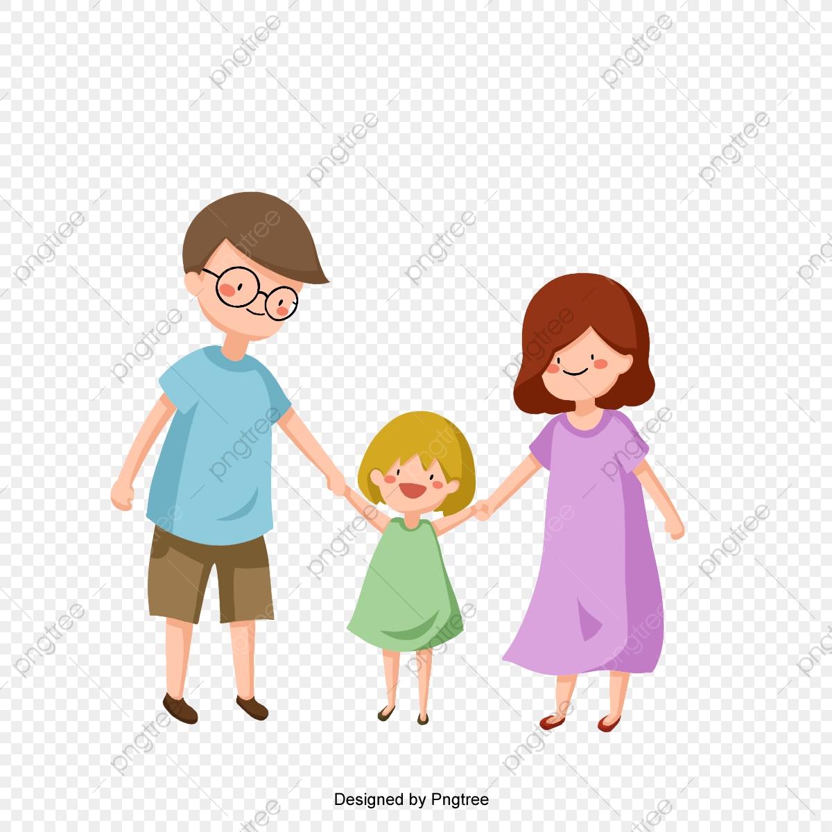 Cartoon Cute Family Hand In Hand, Cartoon, Cute, Lovely PNG.