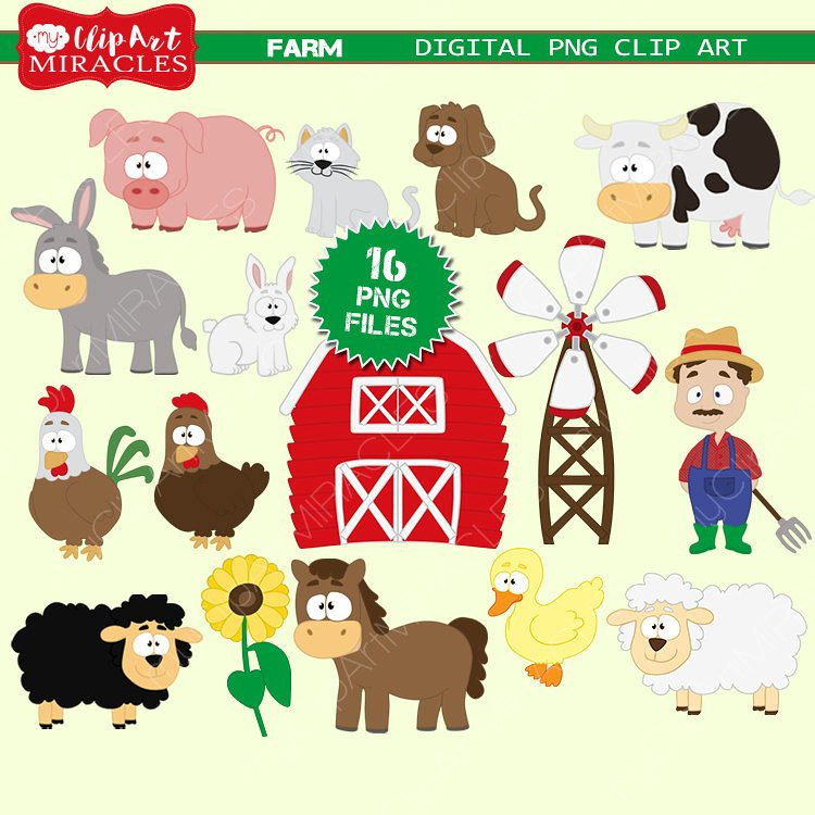 New item: Farm clip art, Farm animals clipart, Cute farm p.