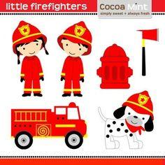 Firefighter Stick Figures Cute Digital Clipart for Card Design.