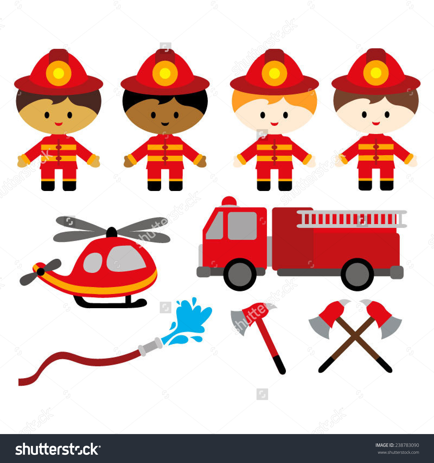 Boys In Firefighter Costumes. Cute Vector Clip Art.
