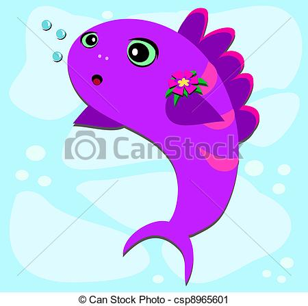 Vector Clip Art of Fish Bubbles and Flower.