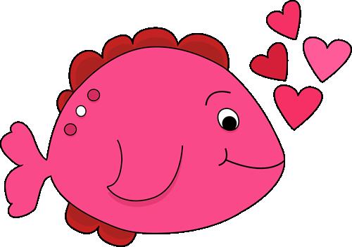 Cute Valentine's Day Fish Clip Art.
