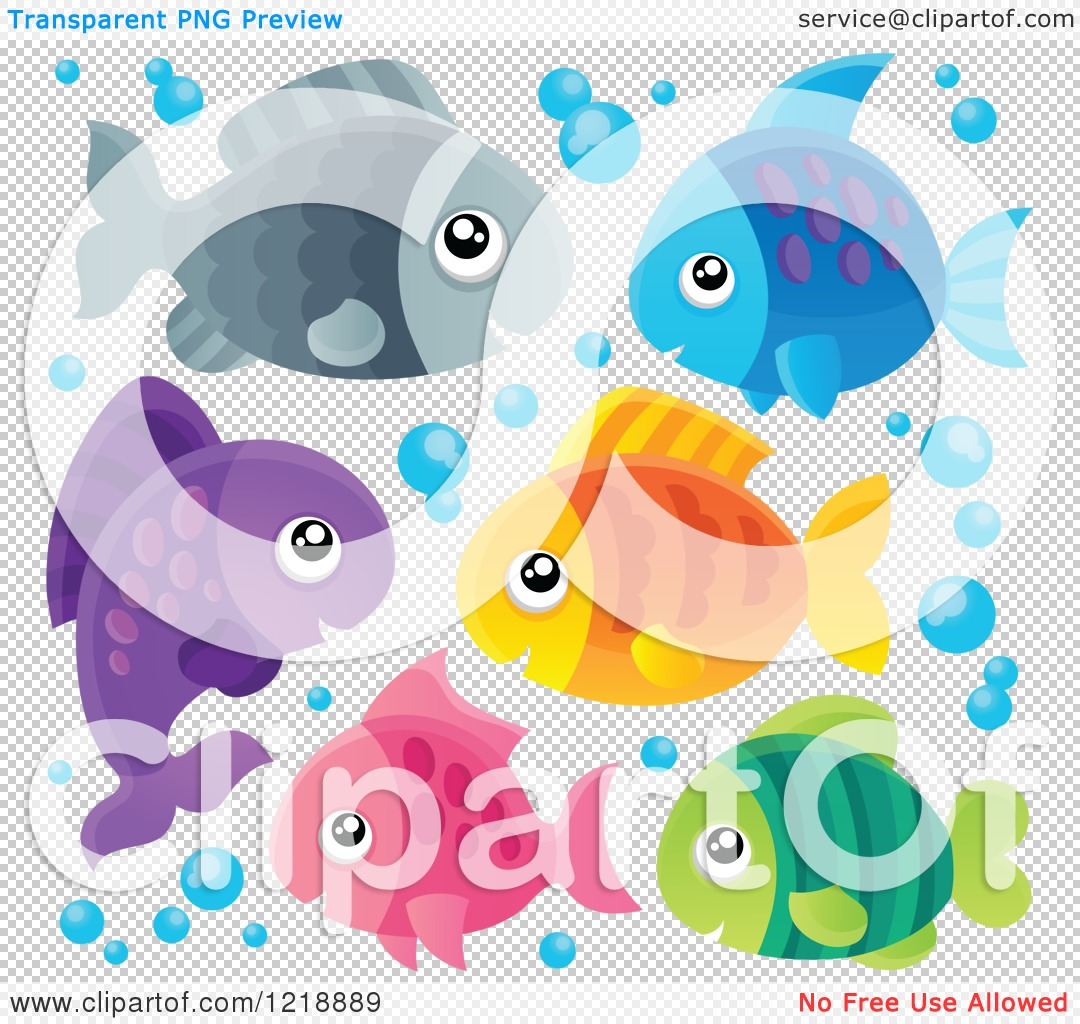 Clipart of Cute Colorful Fish and Bubbles.