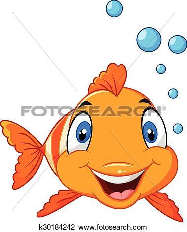 Clipart of Cute clown fish cartoon bubble k30184242.