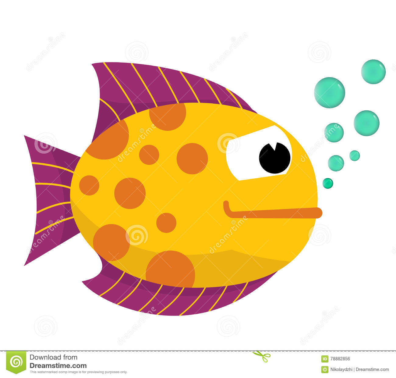 Cute Fish With Bubbles. Vector. Stock Illustration.