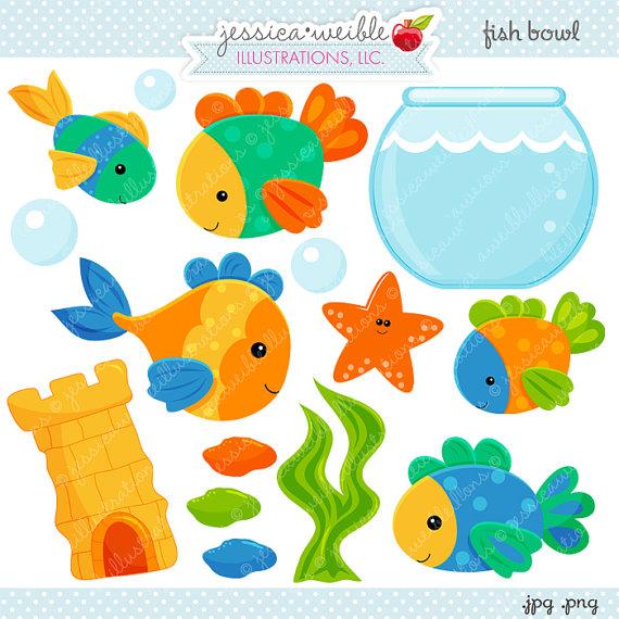 Fish Bowl Cute Digital Clipart.