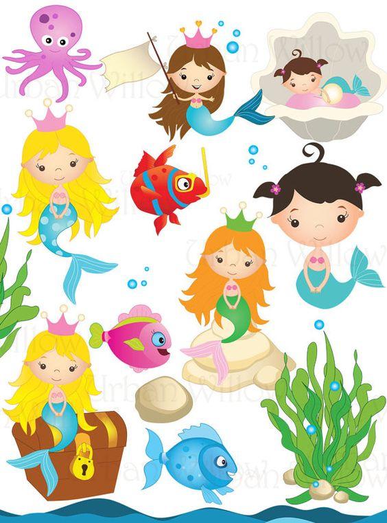 MERMAID clip art. Cli art fish. Undersea clipart. Angel fish.