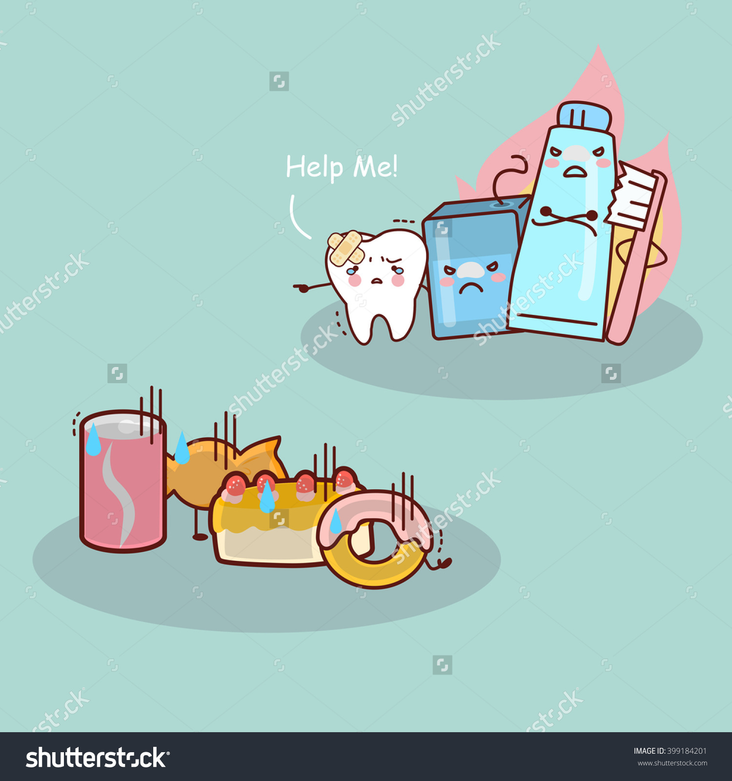 Cute Cartoon Tooth,Floss,Toothbrush And Toothpaste Against Candy.