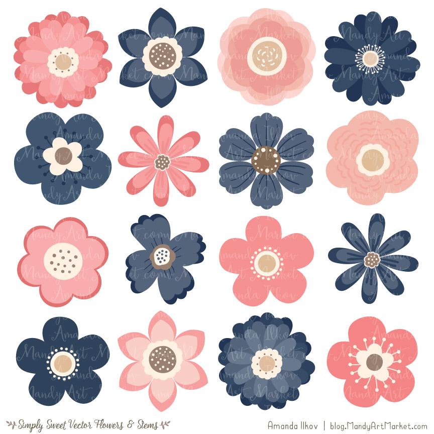 Navy & Blush Flower Clipart & Vectors.