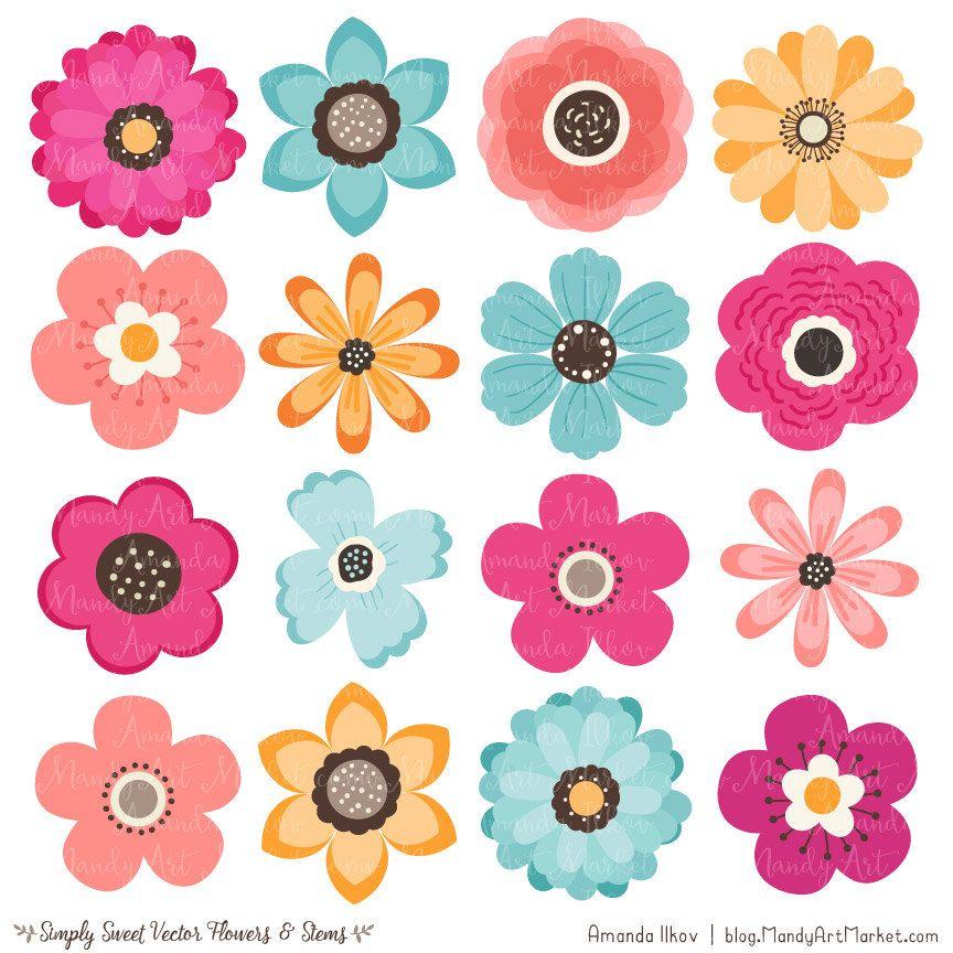 Cute Flowers Clipart in Bohemian.