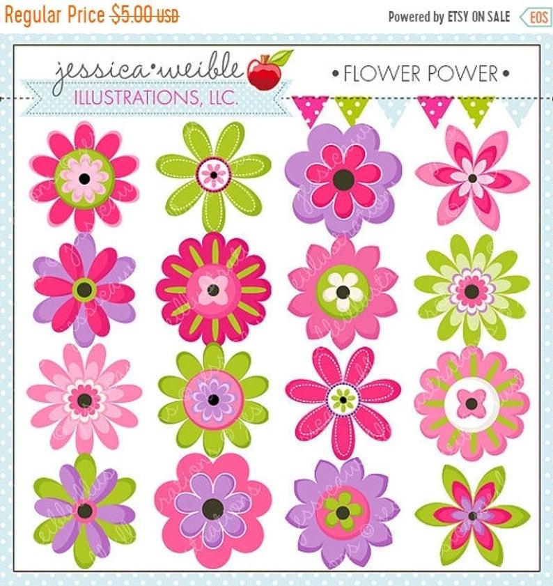 SALE Flower Power Cute Digital Clipart.