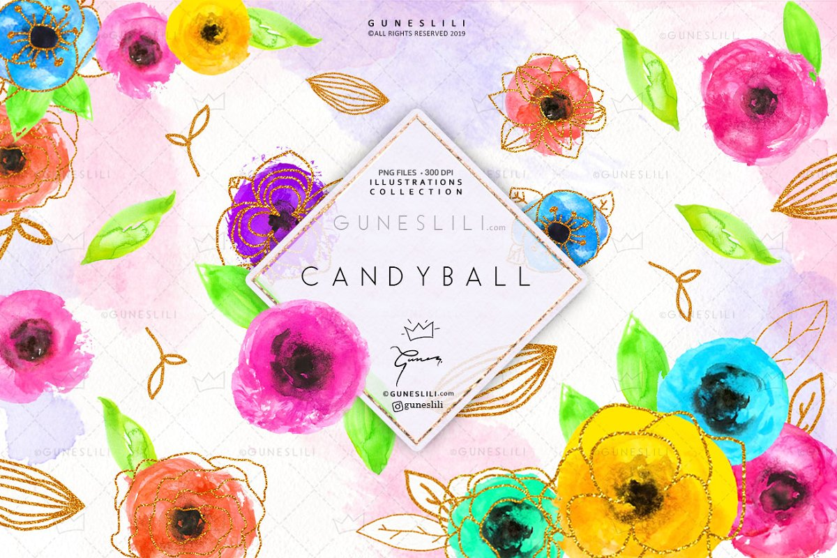 Candy Ball Cute Flowers Clipart.