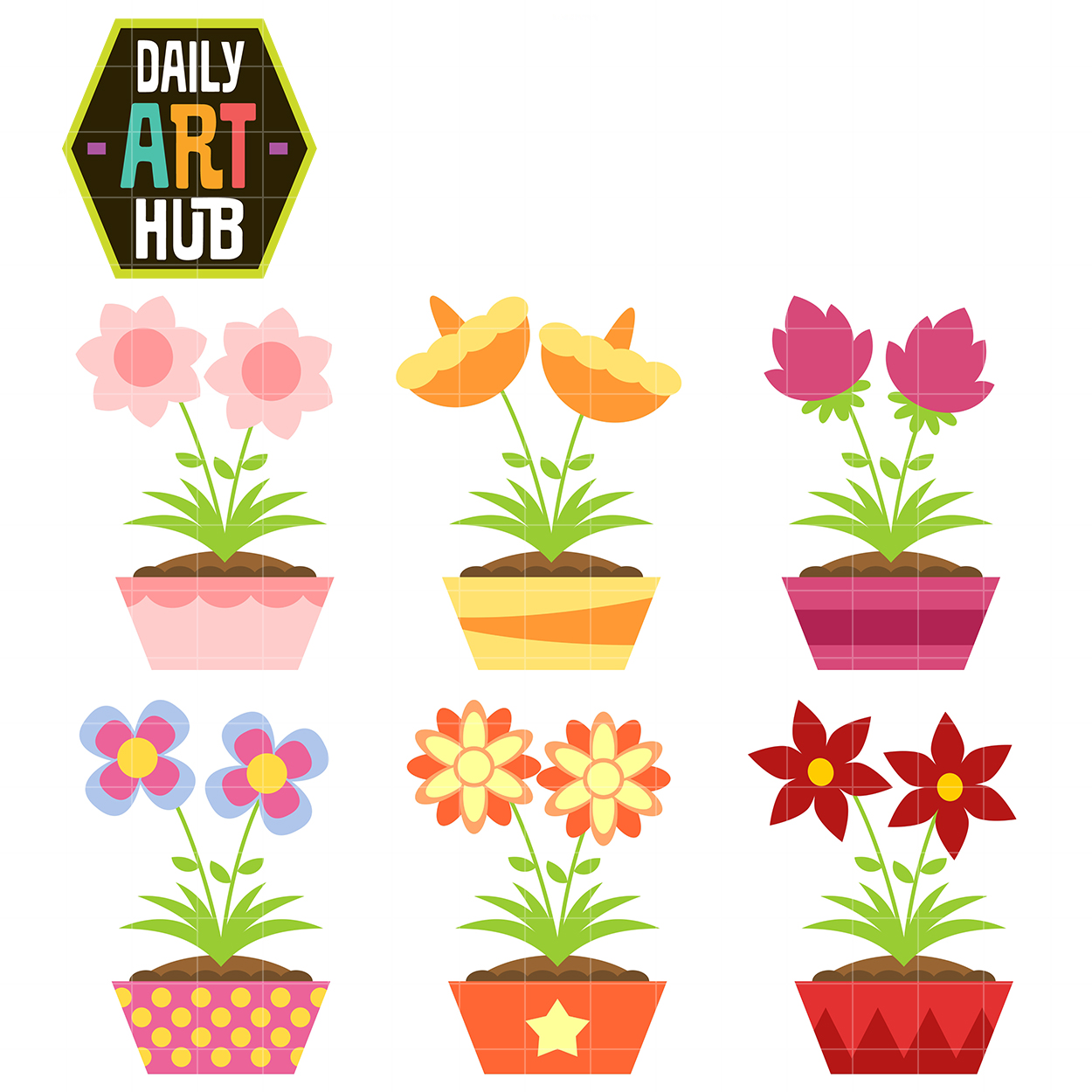 Simple and Cute Flowers Clip Art Set.
