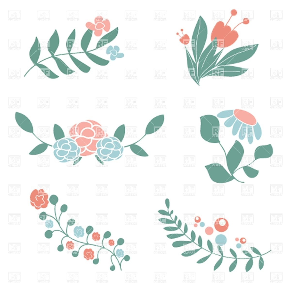 Set of cute floral bouquets and wreaths Stock Vector Image.