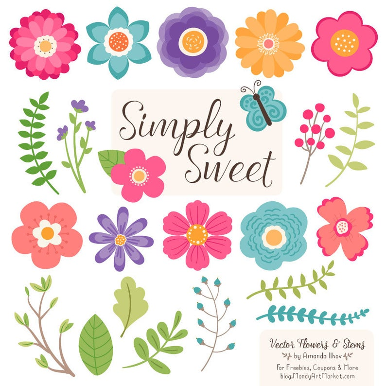 Cute Flowers Clipart in Crayon Box.