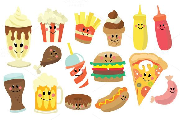 Fast Food Clipart Set by @Graphicsauthor.