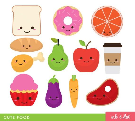 Cute Food Clip Art, Fruit, Donut, Kawaii Faces, Food Clipart, Smile Food,  Vegetables, Coffee.