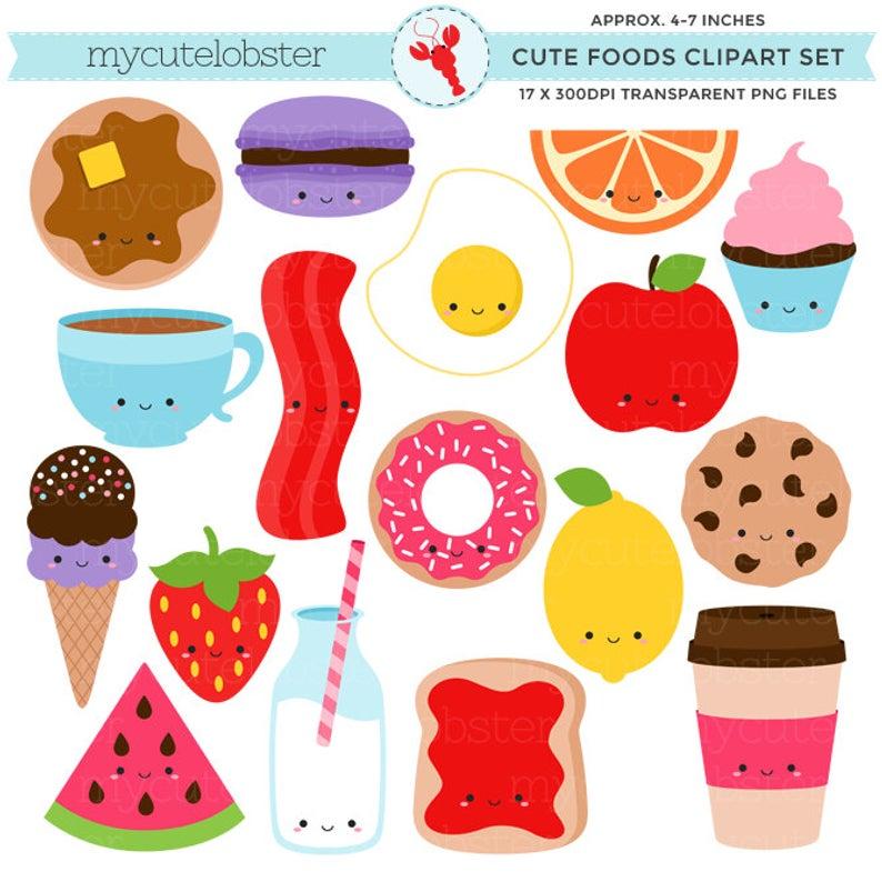 Cute Foods Clipart Set.