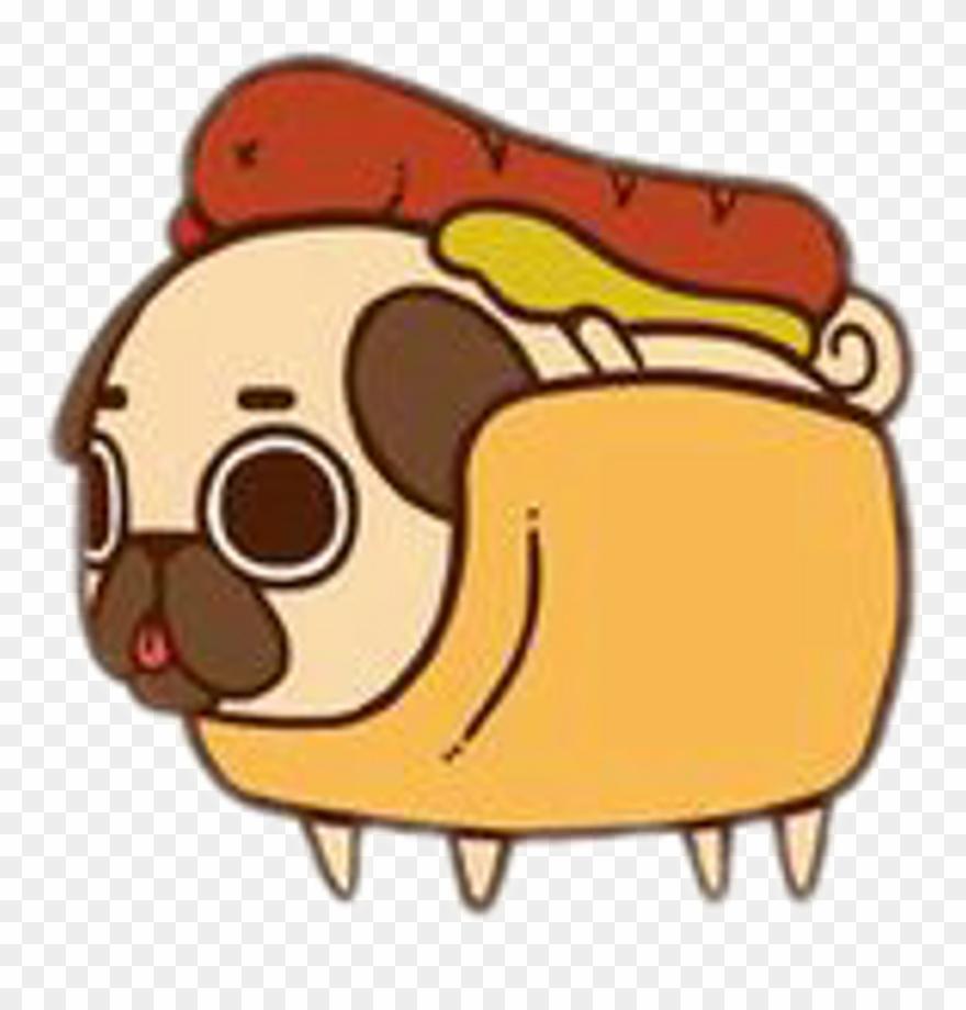 Freetoedit Pug Cute Food Hotdog Sausage Fastfood.
