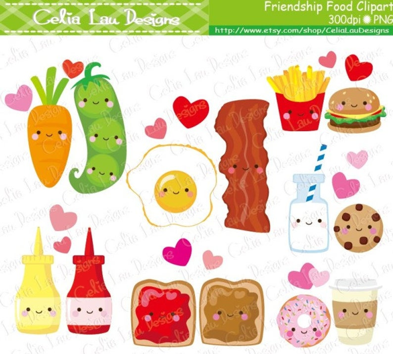 Friendship Food Cartoon, Best Friend Cute Clip Art / Cute Food Clipart  (CG158).