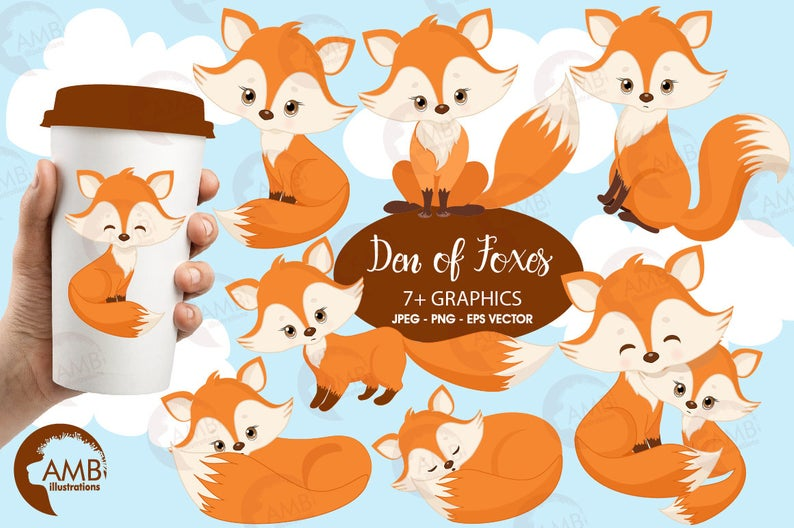 Fox clip art, Cute fox clipart, Fox love clipart, mother and baby fox,  forest creatures, forest critters, commercial use, AMB.